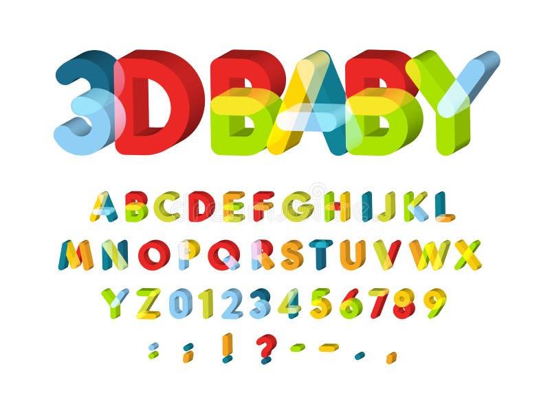 τρισδιάστατο αλφάβητο για τη διακόσμηση ζώνης μωρών Διανυσματική πηγή ζώνης παιδιών Οι αστείες τρισδιάστατες επιστολές Caolorful  ελεύθερη απεικόνιση δικαιώματος