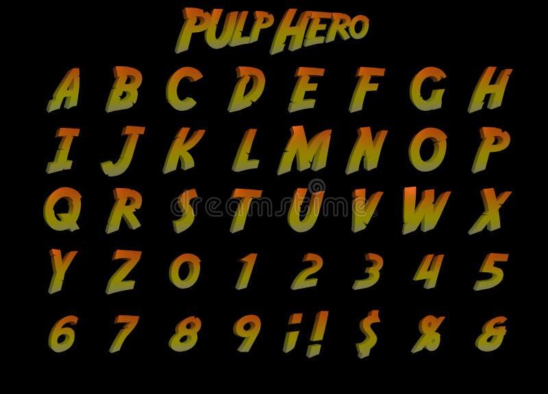 Τρισδιάστατο αλφάβητο ηρώων πολτού απεικόνιση αποθεμάτων