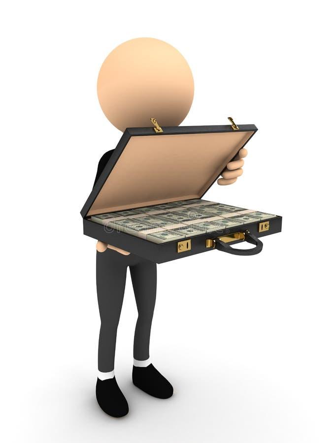 τρισδιάστατο ανοικτό πρόσωπο χρημάτων περίπτωσης διανυσματική απεικόνιση