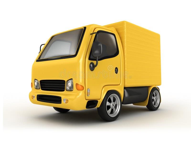 τρισδιάστατο απομονωμένο φορτηγό κίτρινο απεικόνιση αποθεμάτων