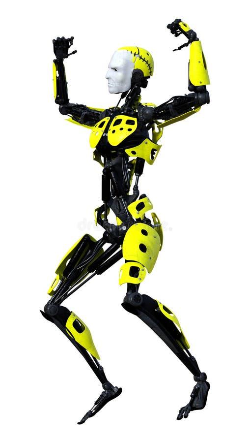 τρισδιάστατο αρσενικό ρομπότ απόδοσης στο λευκό απεικόνιση αποθεμάτων