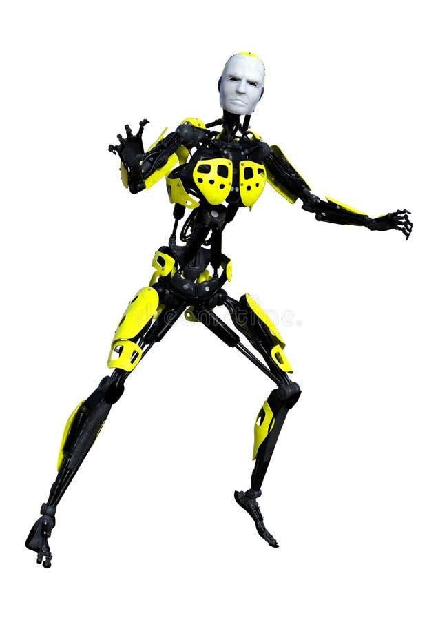 τρισδιάστατο αρσενικό ρομπότ απόδοσης στο λευκό διανυσματική απεικόνιση