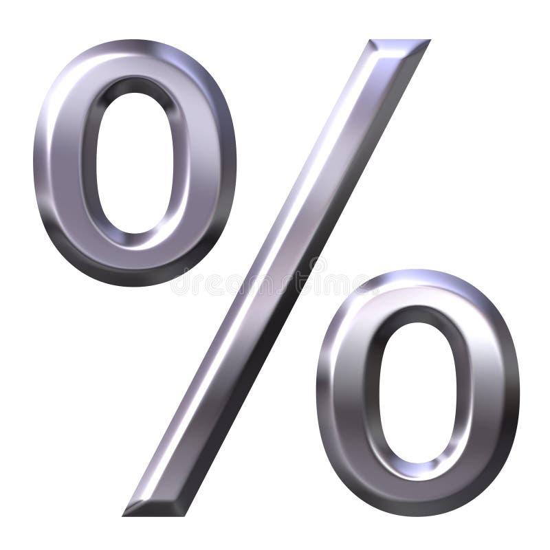 τρισδιάστατο ασημένιο σύμβολο ποσοστού διανυσματική απεικόνιση