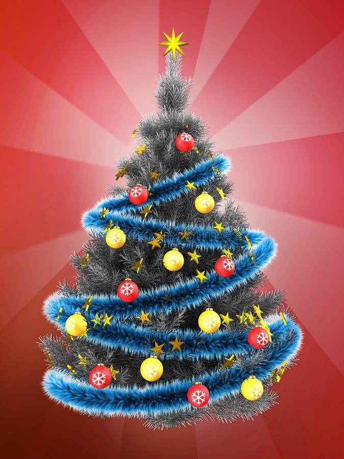 τρισδιάστατο ασημένιο χριστουγεννιάτικο δέντρο πέρα από το κόκκινο διανυσματική απεικόνιση