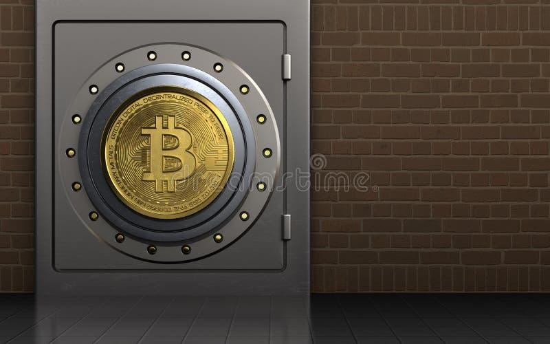 τρισδιάστατο ασφαλές χρηματοκιβώτιο bitcoin απεικόνιση αποθεμάτων