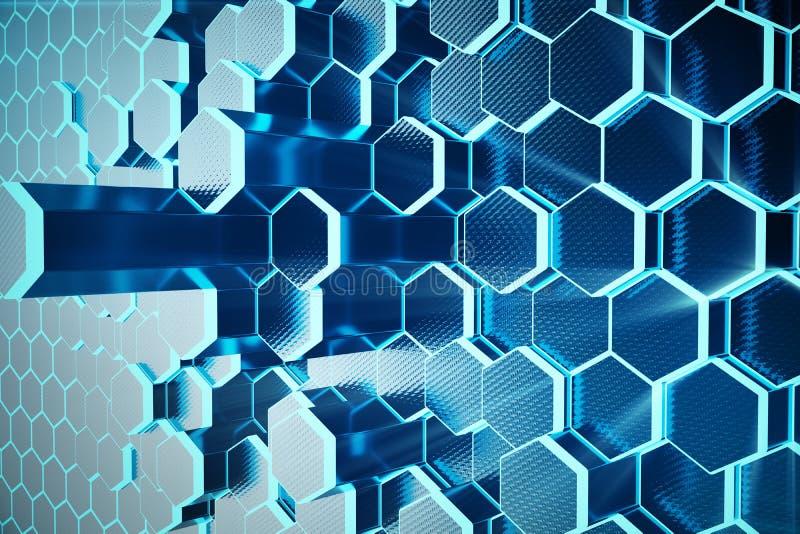 τρισδιάστατο αφηρημένο μπλε απεικόνισης του φουτουριστικού hexagon σχεδίου επιφάνειας με τις ελαφριές ακτίνες Μπλε εξαγωνικό υπόβ απεικόνιση αποθεμάτων