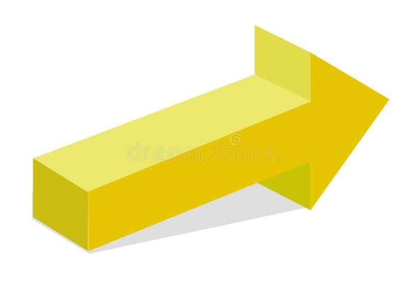 τρισδιάστατο βέλος κίτρινο διανυσματική απεικόνιση