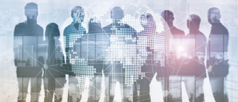τρισδιάστατο γήινο ολόγραμμα στο θολωμένο υπόβαθρο Σφαιρική έννοια επιχειρήσεων και επικοινωνίας Έμβλημα επιγραφών ιστοχώρου στοκ φωτογραφίες