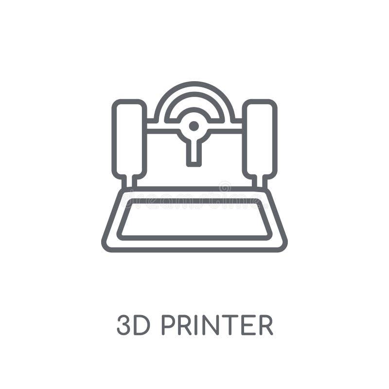 τρισδιάστατο γραμμικό εικονίδιο εκτυπωτών Σύγχρονη έννοια ο λογότυπων εκτυπωτών περιλήψεων τρισδιάστατη απεικόνιση αποθεμάτων