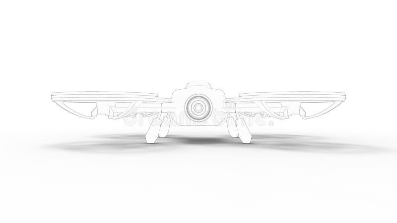Τρισδιάστατο δίνοντας σκίτσο κηφήνων που απομονώνεται στο άσπρο υπόβαθρο στούντιο διανυσματική απεικόνιση