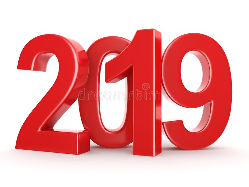 τρισδιάστατο δίνοντας το 2019 νέα κόκκινα ψηφία έτους απεικόνιση αποθεμάτων