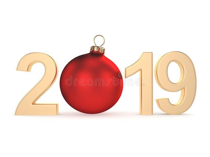 τρισδιάστατο δίνοντας το 2019 νέα χρυσά ψηφία έτους απεικόνιση αποθεμάτων