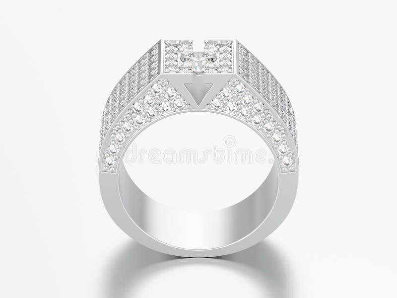 τρισδιάστατο δαχτυλίδι διαμαντιών απεικόνισης άσπρο χρυσό ή ασημένιο signet απεικόνιση αποθεμάτων