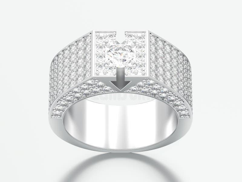 τρισδιάστατο δαχτυλίδι διαμαντιών απεικόνισης άσπρο χρυσό ή ασημένιο signet ελεύθερη απεικόνιση δικαιώματος