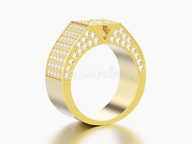 τρισδιάστατο δαχτυλίδι διαμαντιών απεικόνισης κίτρινο χρυσό signet ελεύθερη απεικόνιση δικαιώματος