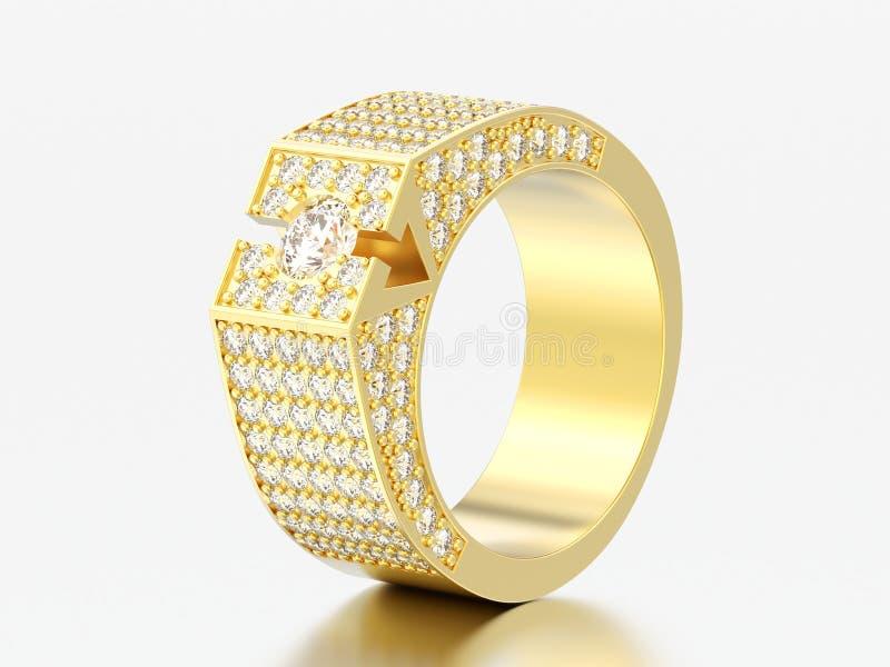 τρισδιάστατο δαχτυλίδι διαμαντιών απεικόνισης κίτρινο χρυσό signet διανυσματική απεικόνιση