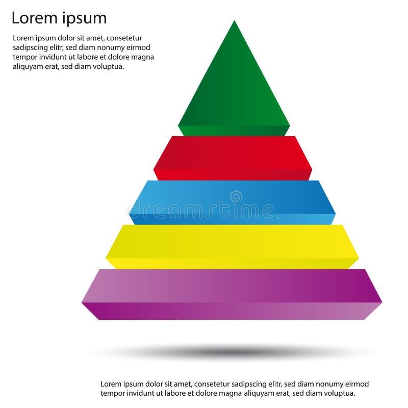 τρισδιάστατο διάγραμμα πυραμίδων - διανυσματική απεικόνιση Editable απεικόνιση αποθεμάτων