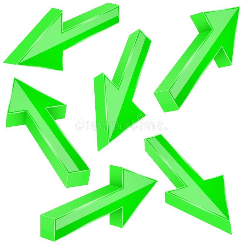 τρισδιάστατο διάνυσμα απεικόνισης βελών πράσινο Σύνολο λαμπρών ευθέων σημαδιών ελεύθερη απεικόνιση δικαιώματος