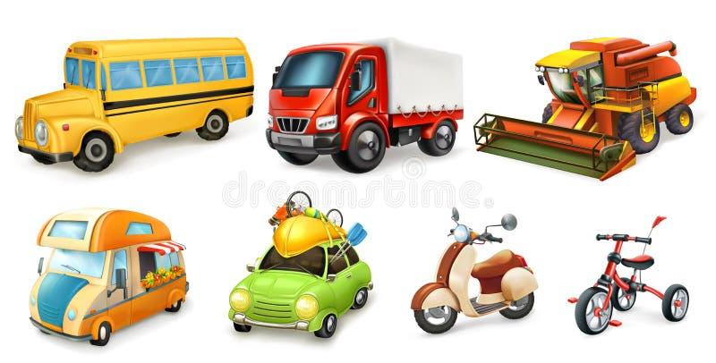 Τρισδιάστατο διανυσματικό σύνολο εικονιδίων μεταφορών ελεύθερη απεικόνιση δικαιώματος