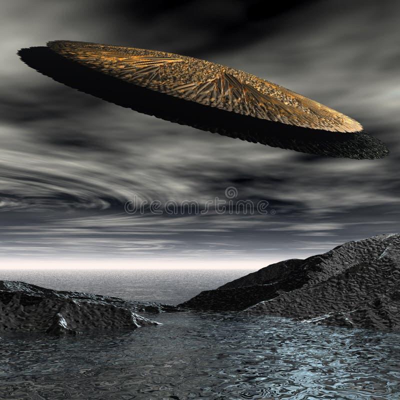 τρισδιάστατο διαστημικό ufo απεικόνιση αποθεμάτων