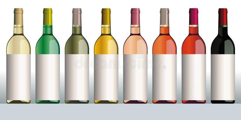 τρισδιάστατο διαφορετικό πρότυπο κρασί χρωμάτων μπουκαλιών απεικόνιση αποθεμάτων