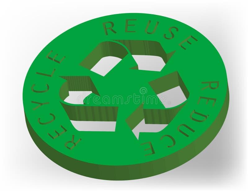 τρισδιάστατο εικονίδιο ανακύκλωσης απεικόνιση αποθεμάτων