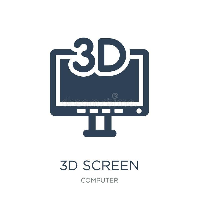τρισδιάστατο εικονίδιο οθόνης στο καθιερώνον τη μόδα ύφος σχεδίου τρισδιάστατο εικονίδιο οθόνης που απομονώνεται στο άσπρο υπόβαθ απεικόνιση αποθεμάτων