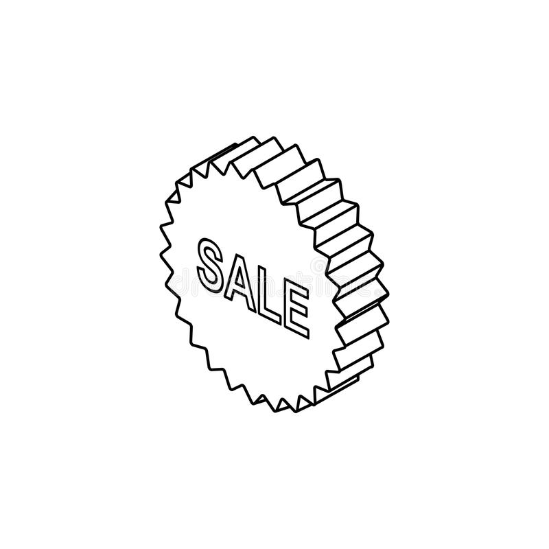 τρισδιάστατο εικονίδιο σημαδιών πώλησης Στοιχείο των σημαδιών πώλησης για την κινητούς έννοια και τον Ιστό apps Λεπτό εικονίδιο γ απεικόνιση αποθεμάτων