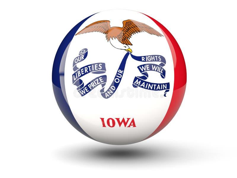 τρισδιάστατο εικονίδιο σφαιρών με τη σημαία του Iowa Ηνωμένες τοπικές σημαίες απεικόνιση αποθεμάτων