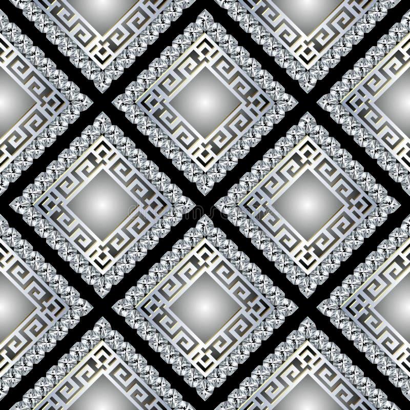 τρισδιάστατο ελληνικό διανυσματικό άνευ ραφής σχέδιο πλαισίων κοσμήματος λαμπρό Ρόμβος διαμαντιών κοσμημάτων Ελληνική βασική αρχα απεικόνιση αποθεμάτων