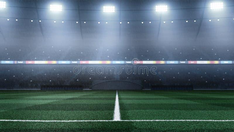 τρισδιάστατο επαγγελματικό υπόβαθρο σταδίων ποδοσφαίρου με τη βροχή στοκ φωτογραφία με δικαίωμα ελεύθερης χρήσης