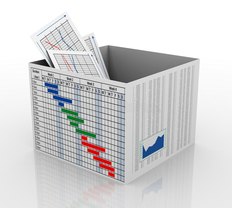 τρισδιάστατο επιχειρησιακό διάγραμμα στο κιβώτιο απεικόνιση αποθεμάτων