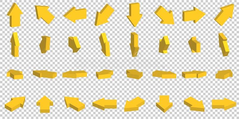 τρισδιάστατο κίτρινο βέλος στο άσπρο υπόβαθρο διανυσματική απεικόνιση