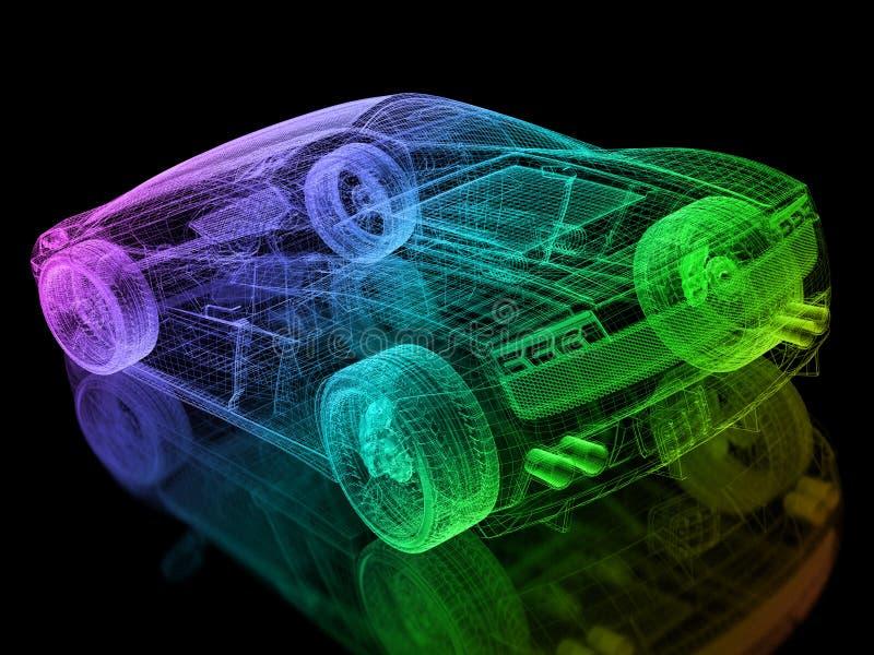 τρισδιάστατο καλώδιο αυτοκινήτων διανυσματική απεικόνιση