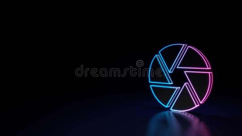 τρισδιάστατο καμμένος σύμβολο νέου του συμβόλου του ανοίγματος καμερών που απομονώνεται στο μαύρο υπόβαθρο ελεύθερη απεικόνιση δικαιώματος
