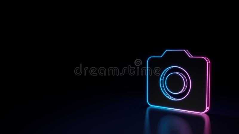 τρισδιάστατο καμμένος σύμβολο νέου του συμβόλου της κάμερας που απομονώνεται στο μαύρο υπόβαθρο ελεύθερη απεικόνιση δικαιώματος
