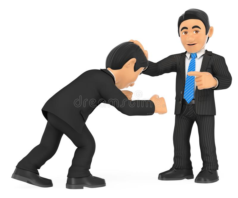 τρισδιάστατο κεφάλι εκμετάλλευσης επιχειρηματιών με το χέρι σε άλλο ανωτερότητα ελεύθερη απεικόνιση δικαιώματος
