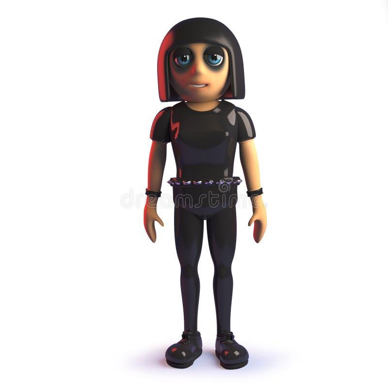 τρισδιάστατο κορίτσι κινούμενων σχεδίων goth στο δέρμα jumpsuit που στέκεται ήρεμα στην προσοχή ελεύθερη απεικόνιση δικαιώματος