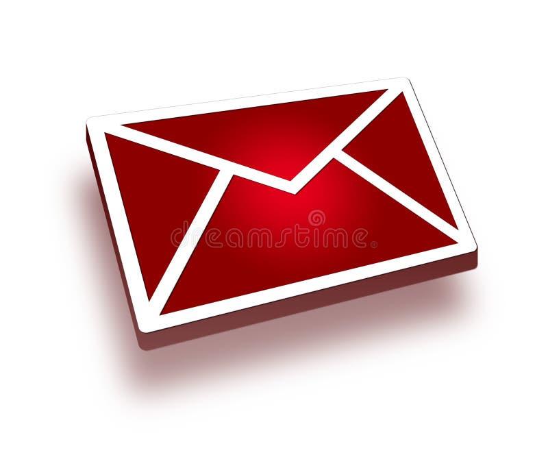 τρισδιάστατο κόκκινο ταχυδρομείου εικονιδίων ελεύθερη απεικόνιση δικαιώματος