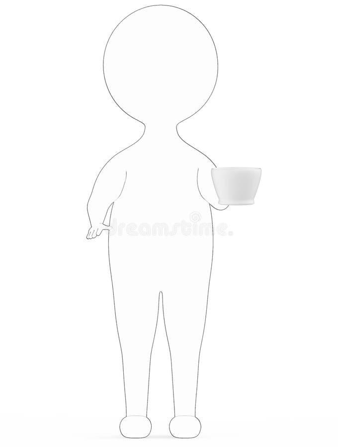 τρισδιάστατο λευκό - μαύρος εξωτερικός ευθυγραμμισμένος χαρακτήρας που υπερασπίζεται και που κρατά ένα τρισδιάστατο φλυτζάνι τσαγ ελεύθερη απεικόνιση δικαιώματος