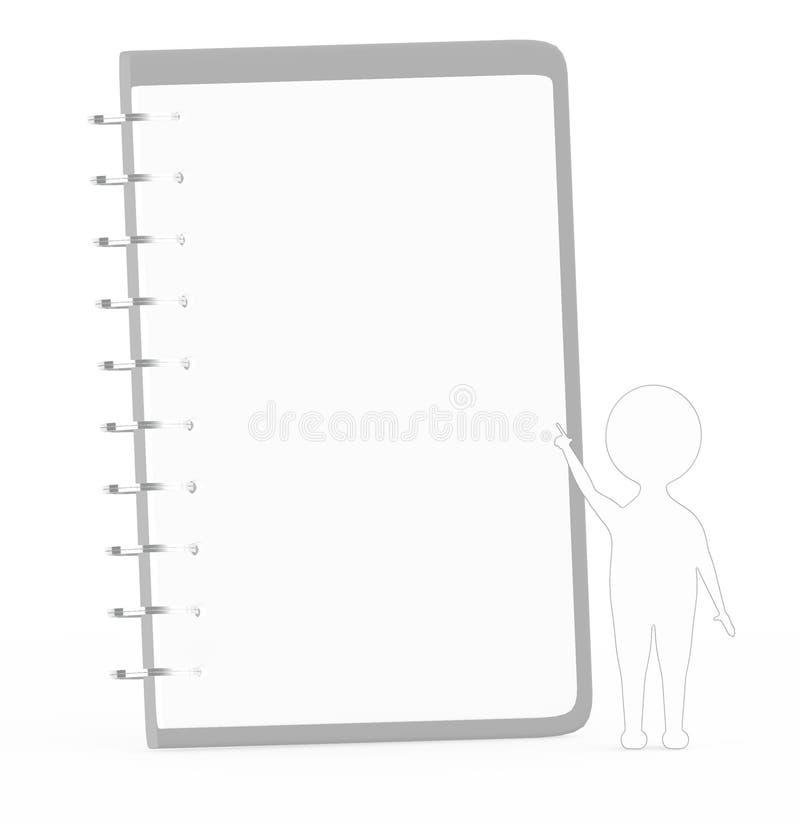 τρισδιάστατο λευκό με το μαύρο χαρακτήρα κτυπήματος ακρών που δείχνει το χέρι του προς ένα σημειωματάριο διανυσματική απεικόνιση