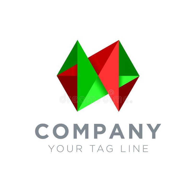 τρισδιάστατο λογότυπο πράσινος και κόκκινος απεικόνιση αποθεμάτων