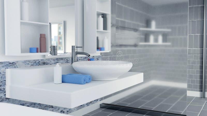 τρισδιάστατο λουτρό εσωτερικό σχέδιο με τις μπλε πετσέτες ελεύθερη απεικόνιση δικαιώματος