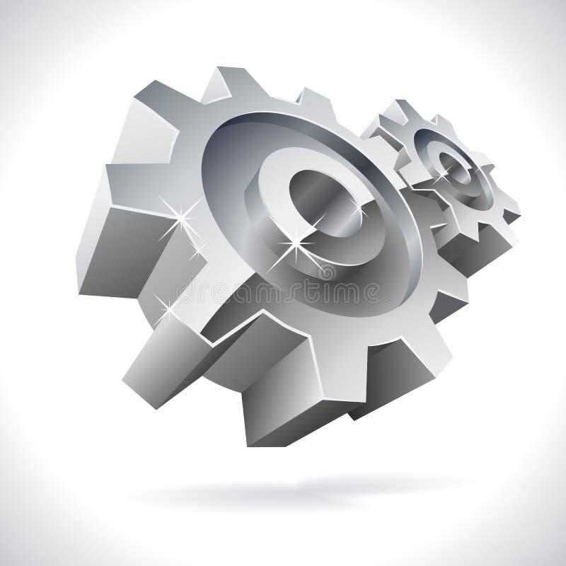 τρισδιάστατο μέταλλο εργαλείων διανυσματική απεικόνιση