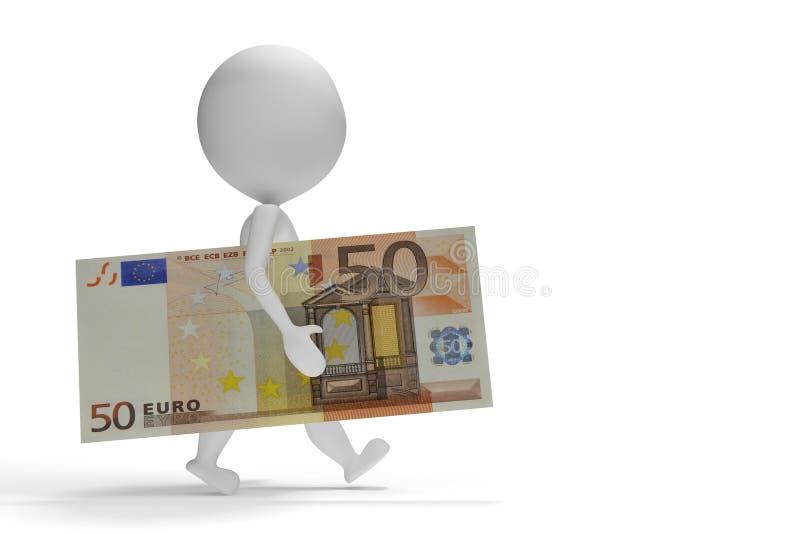 τρισδιάστατο μικρό άτομο που περπατά με 50 ευρώ διανυσματική απεικόνιση