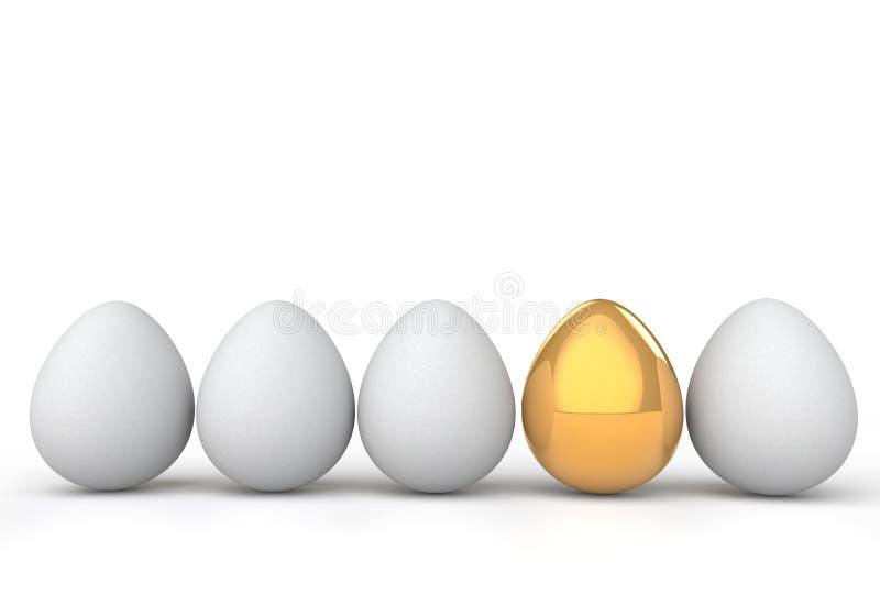 τρισδιάστατο μοναδικό χρυσό αυγό μεταξύ άσπρων απεικόνιση αποθεμάτων