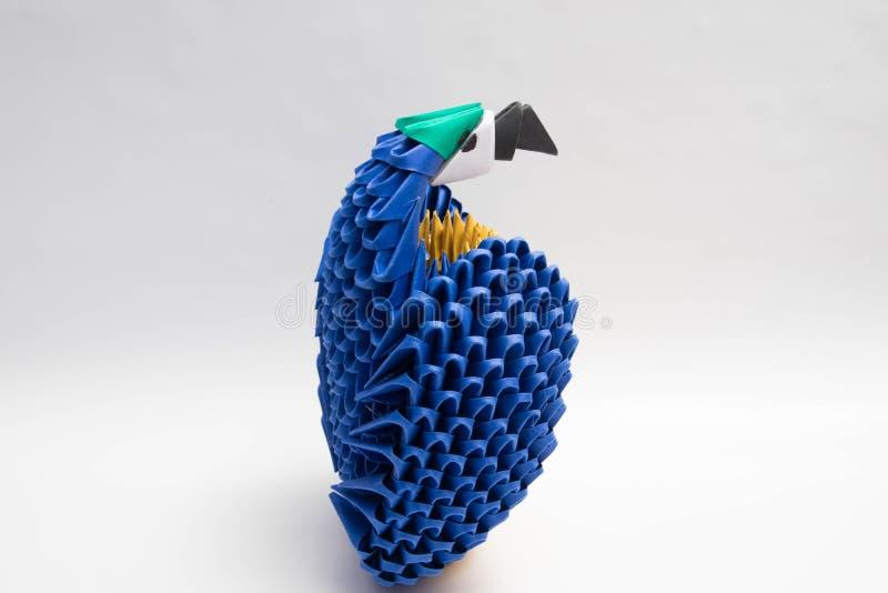 τρισδιάστατο μπλε παπαγάλων πουλιών origami στοκ εικόνα με δικαίωμα ελεύθερης χρήσης
