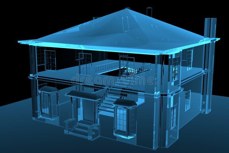 τρισδιάστατο μπλε σπίτι π&omic απεικόνιση αποθεμάτων