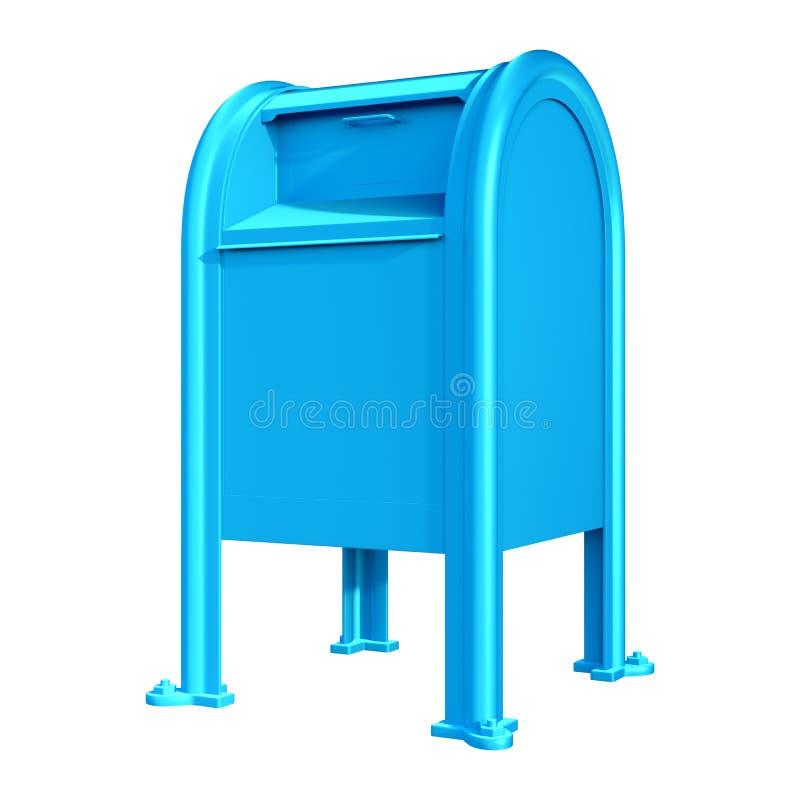 τρισδιάστατο μπλε ταχυδρομικό κουτί απόδοσης στο λευκό στοκ φωτογραφίες