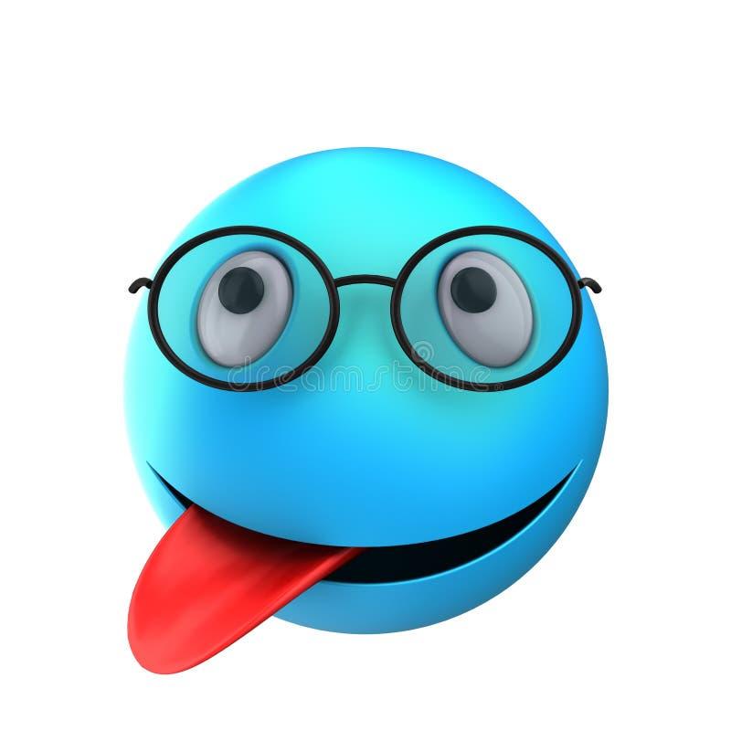 τρισδιάστατο μπλε χαμόγελο emoticon απεικόνιση αποθεμάτων